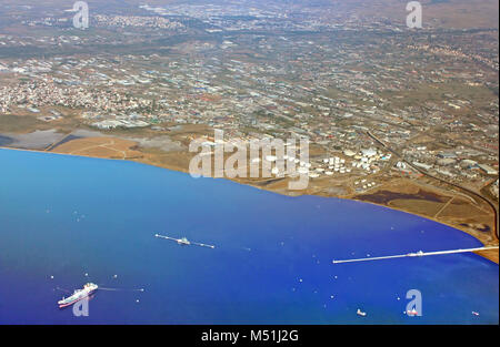 Thessaloniki from the airplane - Stock Photo