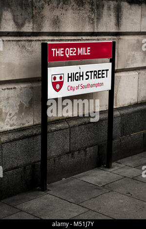 The City Of Southampton QE2 (Queen Elizabeth II) High Street Sign Marking The QE2 Mile - Stock Photo