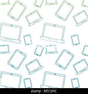 laptop smartphone device technology seamless pattern - Stock Photo