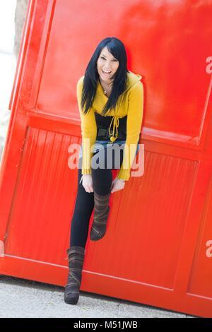 Pretty teen girl girls model-released release alpfabet leggings - Stock Photo