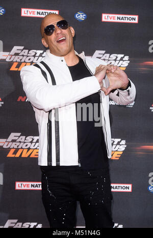 Fast & Furious Live at The O2 - Arrivals  Featuring: Vin Diesel Where: London, United Kingdom When: 19 Jan 2018 - Stock Photo
