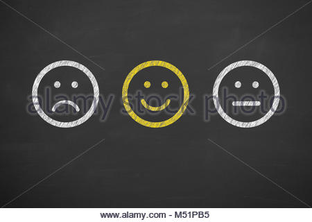 Hand Drawing Unhappy and Happy on Blackboard - Stock Photo