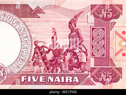 Nigeria Five 5 Naira Bank Note - Stock Photo