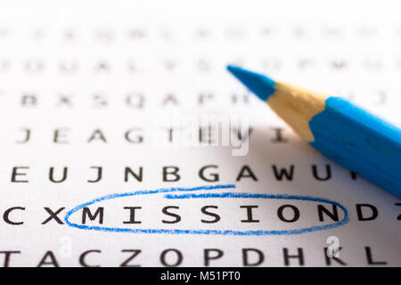 Word search, puzzle. Close up of letters on canvas. Concept about finding, mission, goal, objective. - Stock Photo