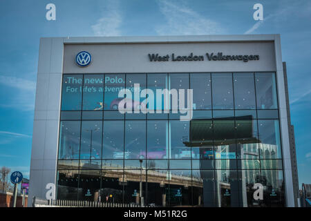 Volkswagen logo and signage  outside west London HQ in Chiswick West London, UK - Stock Photo