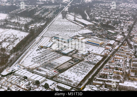 Aerial view, Helf Automobil-Logistik GmbH, Katernberg, car parking spaces, new car interim storage, car dump, new - Stock Photo