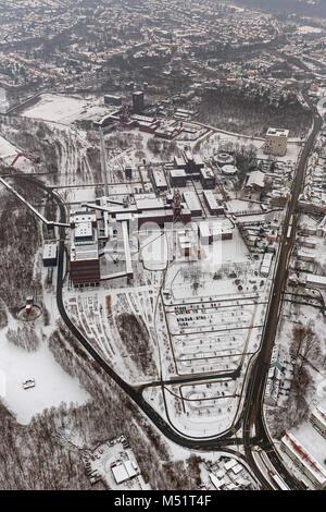 Aerial view, double, winding tower, Sanaa building design school, School of Arts, Zeche Zollverein World Heritage - Stock Photo