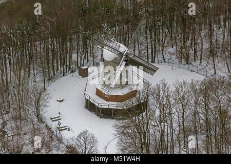Aerial view, windmill Mäckinger Bach, optical fiber open air museum Hagen im Schnee, Hagen, Ruhr area, North Rhine - Stock Photo