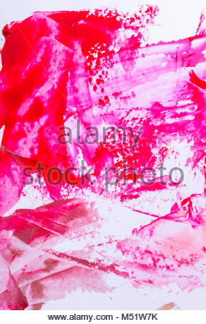 Various smudged random red or pink paint smears over white as abstract background - Stock Photo
