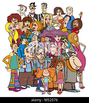 cartoon people characters in the crowd - Stock Photo