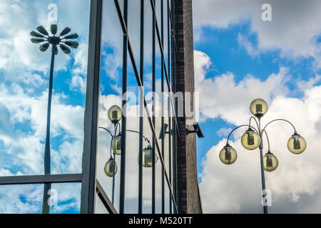 Lampposts reflection in the windows - Stock Photo