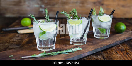 Cocktail with rosemary closeup - Stock Photo