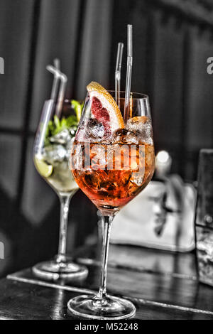 Various cocktails on the bar in the cafe, restaurant - Stock Photo