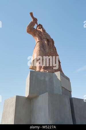 SAN BENEDETTO DEL TRONTO, ITALY - AUGUST 25, 2017:Monument to the Fisherman playing the trumpet on the port of San - Stock Photo