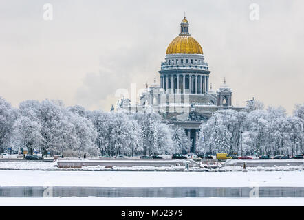 Saint Isaac's Cathedral in winter, Saint Petersburg, Russia - Stock Photo
