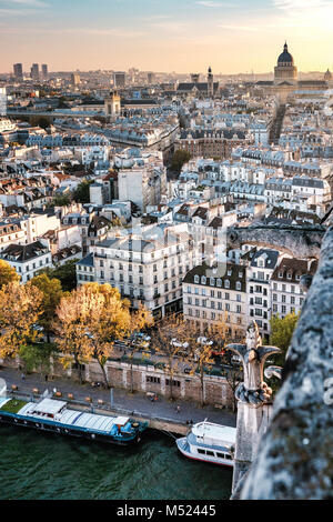 High resolution aerial panorama of Paris, France. The river Seine and autumn colors with blue sky. - Stock Photo
