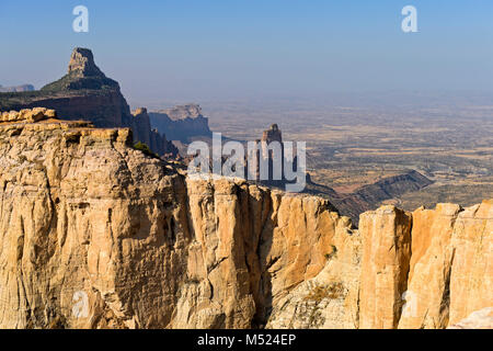 Large African Rift Valley,northern foothills with Koraro rock needles in the Gheralta Mountains,near Hawzien,Tigray,Ethiopia - Stock Photo