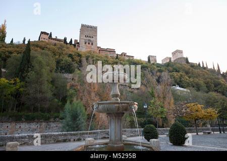 Granada, Spain: Fuente del Paseo de los Tristes at the Mirador de L'Alhambra. - Stock Photo