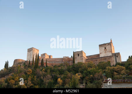 Granada, Spain: North facade of the Alhambra Palace and Fortress from the Mirador de L'Alhambra along Paseo de los - Stock Photo