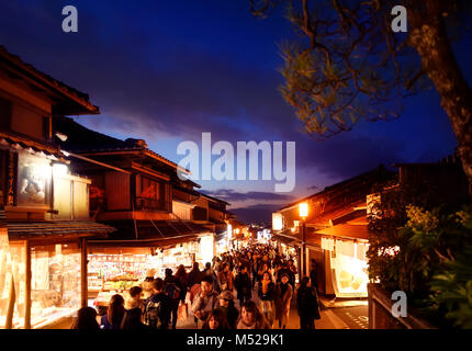 Matsubara dori street in Kyoto at night full of people and bright lights near Kiyomizu-dera temple. Higashiyama, - Stock Photo