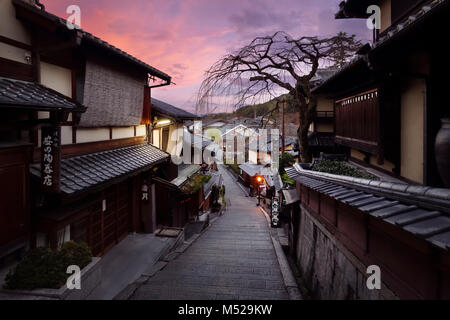 Beautiful sunrise scenery of Yasaka dori historic street in Kyoto empty and quiet in early morning in fall. Higashiyama, - Stock Photo