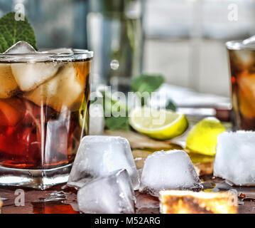 Rum refreshment alcoholic drink - Stock Photo