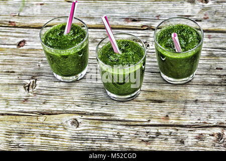 Detox drink from spinach and various green vegetables - Stock Photo
