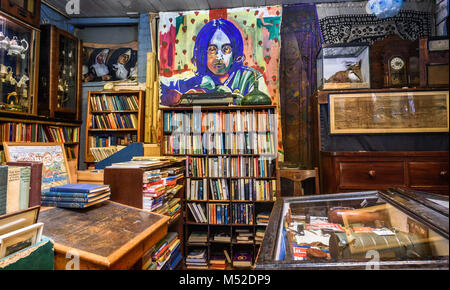 Interior of an antiques and collectable shop in Liverpool, Uk. - Stock Photo