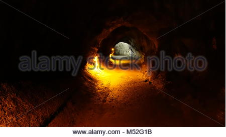 Thurston Lava Tube located in Volcanoes National Park (Big Island, HI, USA) - Stock Photo