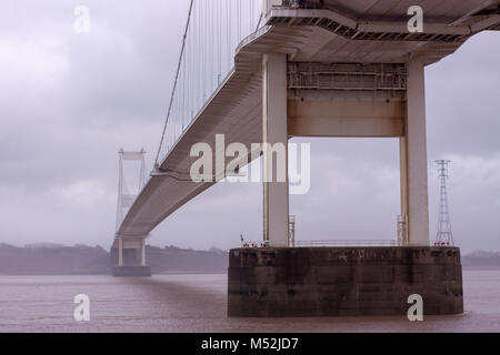 River Severn Road Crossing between Wales and England - Stock Photo