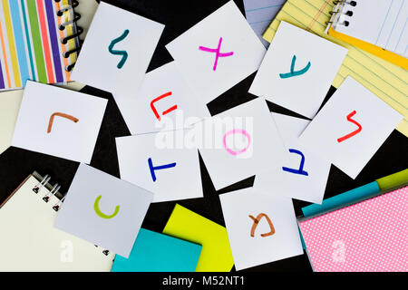 Hebrew; Learning Language with Handwritten Alphabet Character Cards - Stock Photo