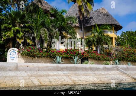 Beachfront villa on the Lamu Island waterfront. Kenya, East Africa. - Stock Photo