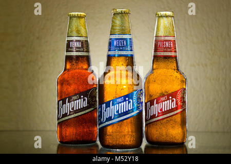 Tlaxcala, Mexico - February 19.2018.Bohemia is a Mexican beer made by the Cuauhtemoc Moctezuma Brewery, it comes - Stock Photo