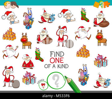 Christmas one of a kind cartoon game - Stock Photo