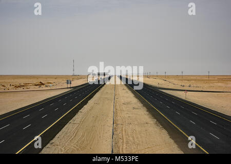 Looking West on the Taif to Riyadh highway. Taken from an overpass midway through the trip. - Stock Photo
