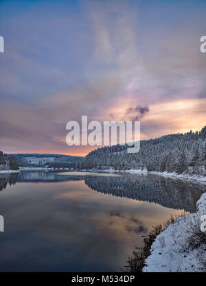 Winter at Oker Reservoir in Harz Mountain,lower Saxony,Germany - Stock Photo