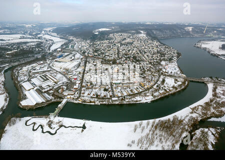 Aerial view, Ruhrverband, Harkortsee, fish ladder, Harkort power plant, view over the Ruhr on Wetter, Wetter Ruhr, - Stock Photo