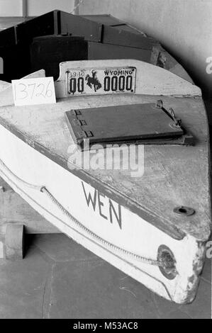 CONDITION OF HISTORIC BOAT DISPLAYED IN VISITOR CENTER PATIO. WEN GRCA 13726   10 JULY 1984    Grand Canyon Nat - Stock Photo