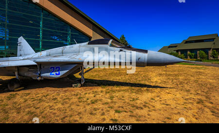 McMinnville, Oregon - August 21, 2017: Mikoyan Gurevich MiG-29 'Fulcrum' on exhibition at Evergreen Aviation & Space - Stock Photo