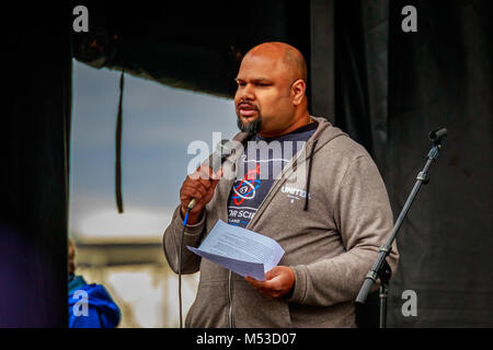 Portland, Oregon - April 22, 2017: Shashi Jain making the speech at rally of Portland March for Science. - Stock Photo