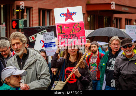 Portland, Oregon - April 22, 2017: People with signs at Portland March for Science. - Stock Photo