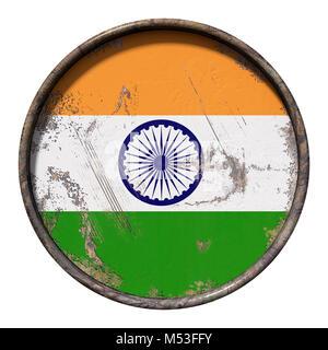 3d rendering of an India flag over a rusty metallic plate. Isolated on white background. - Stock Photo