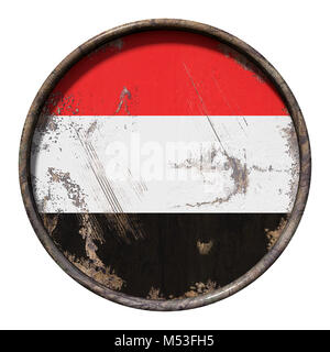 3d rendering of a Yemen flag over a rusty metallic plate. Isolated on white background. - Stock Photo