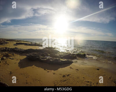 Rocks and sand on the seabed photographed in Israel - Stock Photo