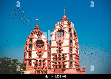 Iskcon temple in New Delhi, India - Stock Photo