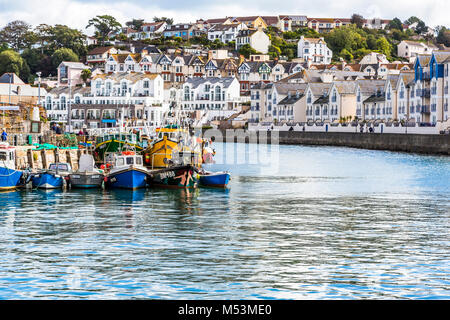 A view of Brixham harbour in South Devon, UK. - Stock Photo