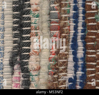 Background  - closeup old striped rag rug - Stock Photo