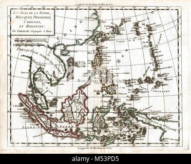 1830 Delamarche Atlas Map - East Indies - Sumatra Java Borneo Malaysia Singapore Philippines Celebes Vietnam - Stock Photo