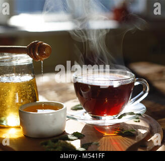 Healthy breakfast. Tea drinking. Morning time. - Stock Photo