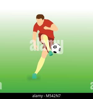 Shooting Ball Football Player Vector Illustration Graphic Design - Stock Photo